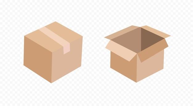 Картонная коробка, изолированные на прозрачном фоне