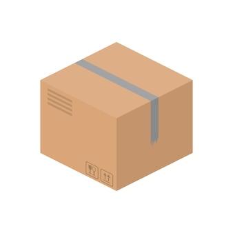 Картонная коробка изометрическая. подходит для оформления на тему доставки и фрахта.