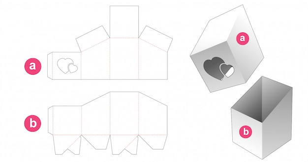 Cardboard box and lid which have hearts window die cut template