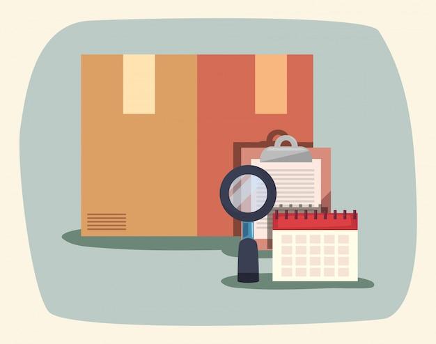 Картонная коробка увеличительное стекло буфер обмена