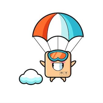 Мультфильм талисмана картонной коробки - прыжки с парашютом со счастливым жестом, милый стиль дизайна для футболки, наклейки, элемента логотипа