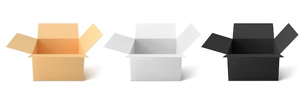 Картонная коробка 3-х видов: цветная, черная, белая. пустые открытые коробки, изолированные на белом фоне.
