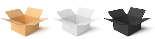 Картонная коробка 3-х видов: цветная, черная, белая. пустые открытые коробки, изолированные на белом фоне