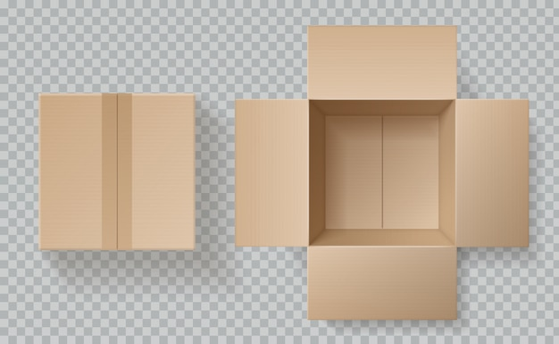Cardboard box top view. open closed boxes inside and top, brown pack mockup, delivery service realistic empty carton  template