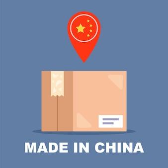 Картонная коробка с этикеткой. посылка из китая. плоские векторные иллюстрации.