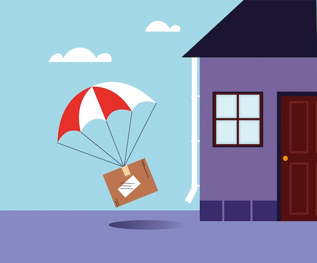 Cardboard box with parachute delivery at the door of the house