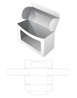 丸いエッジの長方形のウィンドウダイカットテンプレートと段ボール箱