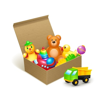 Cardboard box with toys