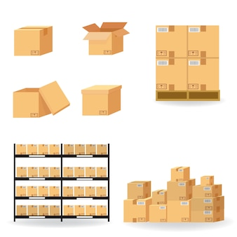 Cardboard boxes carton collection