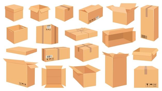 골판지 상자. 만화 갈색 판지 패키지입니다. 깨지기 쉬운 표지판이 있는 열리고 닫힌 배달 직사각형 상자입니다. 벡터 배송 및 포장 세트입니다. 판지 상자, 유통을 위한 큐브 판지 보관