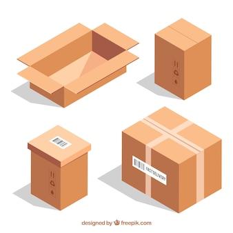Raccolta di scatole di cartone per la spedizione in stile realistico