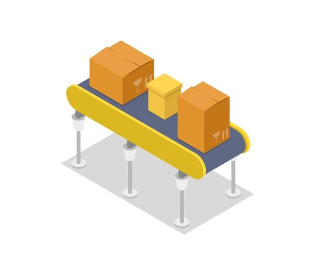Cardboard boxes on conveyor isometric 3d illustration