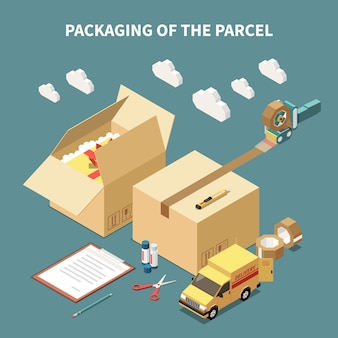 Cardboard boxes delivery car and tools for parcel packaging isometric concept 3d vector illustration