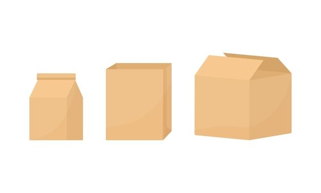 配達用の段ボール箱、白紙のパッケージ。図