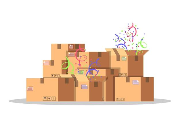 商品の梱包および輸送用の段ボール箱。配信サービスのコンセプトです。製品包装。紙吹雪とカートンボックス。白い背景の上のスタイルのイラスト。