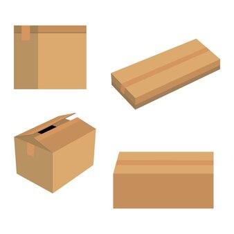 Картонные коробки в векторе