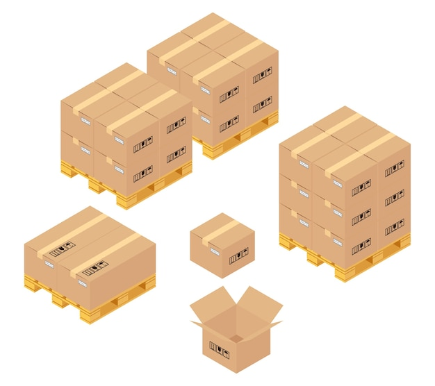 倉庫の段ボール箱。保管、配送、ロジスティクスサービス。輸送と倉庫、コンテナとパレット、輸送と製品。