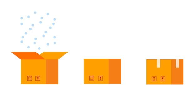 골 판지 상자 이랑 평면 스타일 디자인 벡터 일러스트 아이콘 기호 세트