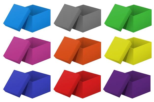 Cardboard boxes in nine colors
