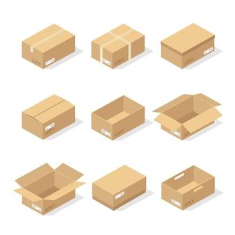 Картонные коробки или упаковочная бумага и транспортировочные коробки; картонные посылки и посылки для доставки в стопку.