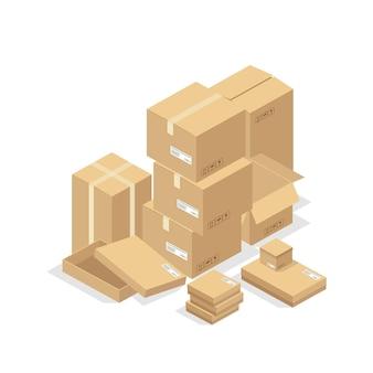 Картонные коробки или упаковочная бумага и транспортная коробка, стопка картонных посылок и посылок для доставки