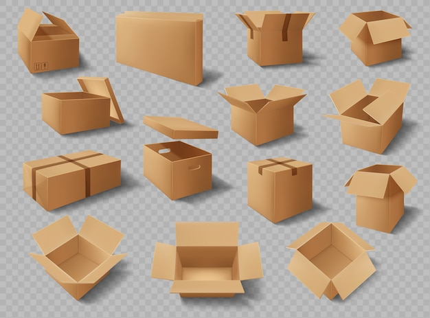 Cardboard boxes, packages, delivery carton packs