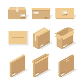 Cardboard boxes or packaging paper and shipping box carton parcels and delivery packages pile