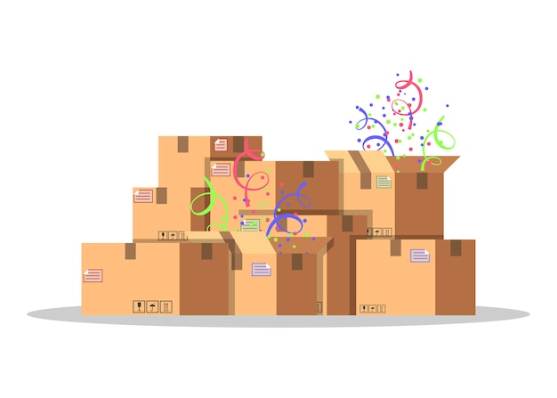 Cardboard boxes for packing and transportation of goods. delivery service concept. product packaging. carton boxes with confetti.  style  illustration  on white background.