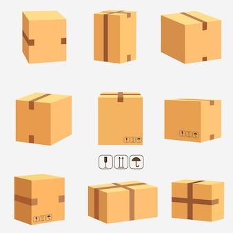 골판지 상자, 쌓인 밀봉 제품. 소포 포장 및 배달, 판지 상자 세트.