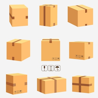 Cardboard boxes, stacked sealed goods. parcel packaging and delivery, carton box set.