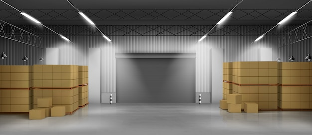 Cardboard boxes in warehouse 3d realistic vector