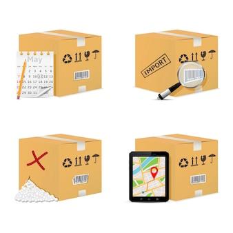 달력, 돋보기, 태블릿 pc 및 손상된 상자가있는 판지 상자