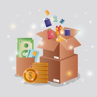Cardboard boxes with ecommerce icons
