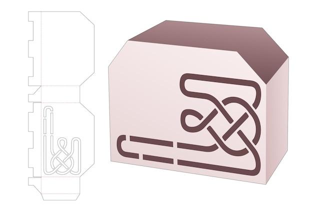 Картонная коробка со скошенной кромкой и шаблоном для высечки в виде ступенчатой линии