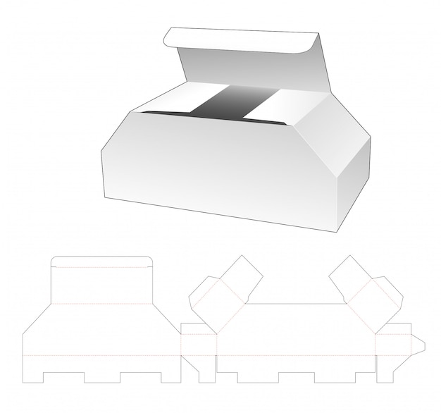 Cardboard chest shaped box die cut template design