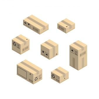 Cardboard corrugated box elements set. isometric vector isolated