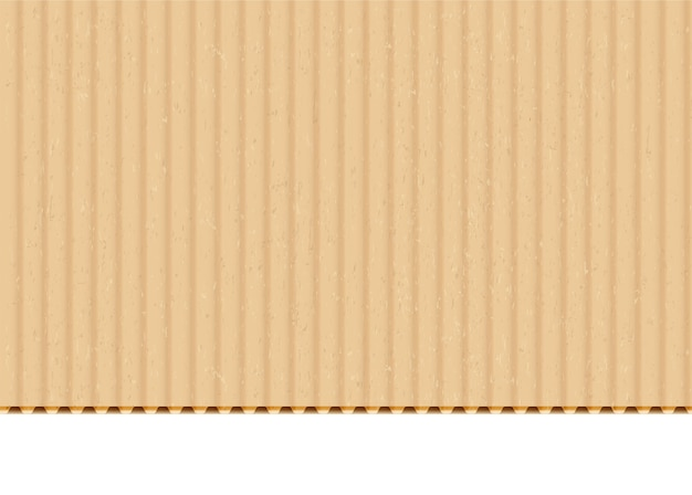 Cardboard corrugated sheet realistic vector background. craft paper with cut edge on white backdrop. carton, box material blank surface texture. beige paperboard illustration