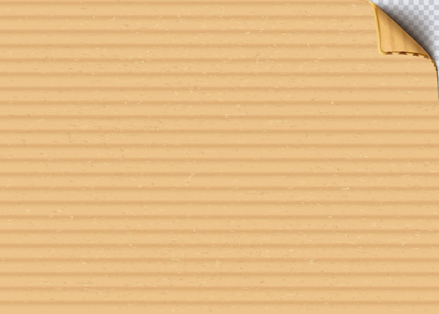 Cardboard corrugated sheet with curled corner realistic vector background. craft paper, recycling box material close up illustration. old carton blank surface texture. beige paperboard backdrop