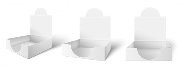 골판지 카운터 표시 상자. 조리대 광고 상자, 열린 포장 및 패키지 그림 세트