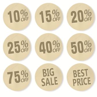 Картонная скидка набор наклеек. продажа баннеров, ценники, значки и этикетки для крупных сделок, реалистичный бумажный дизайн
