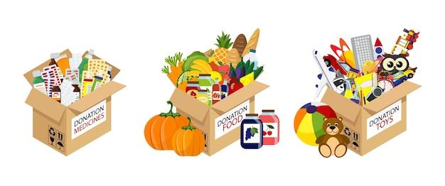 段ボール募金箱のおもちゃ、本、服、デバイスのフルセット。栄養製品を使ったボランティア寄付。