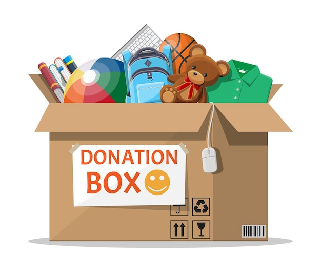 Cardboard donation box full of toys and books