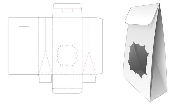 Cardboard flip bag with star window die cut template
