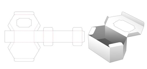 Cardboard flip hexagonal box with vintage window die cut template