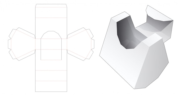 Cardboard flip top box die cut template