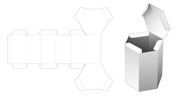 Cardboard flip top hexagonal packaging die cut template