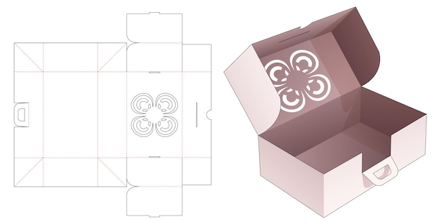 Cardboard folding box and handle with stenciled flower die cut template