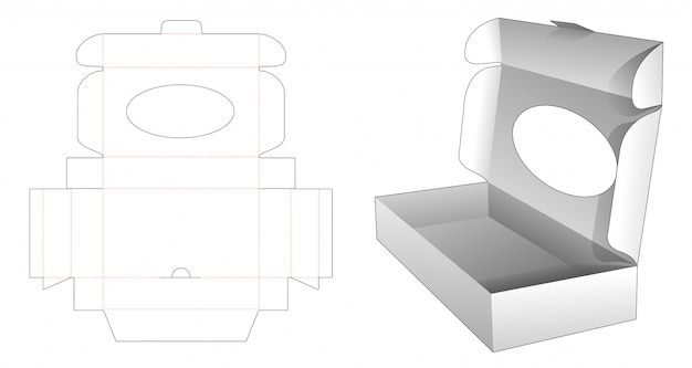 Cardboard folding box with ellipse window die cut template