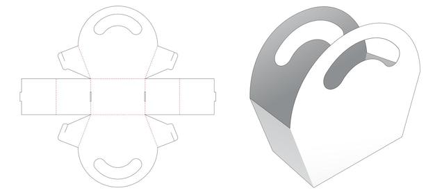 Cardboard handle bag die cut template