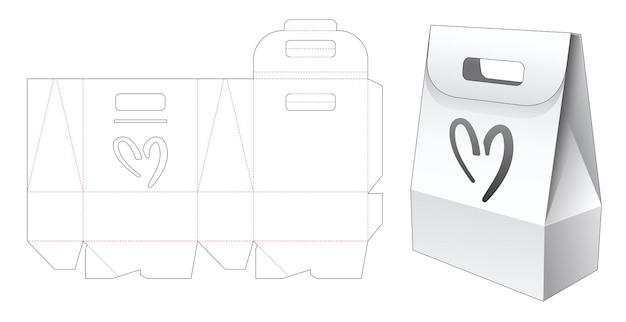 Cardboard handle bag packaging with heart shaped window die cut template